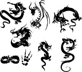 Dragon Tattoo Tribal Design Vector Set