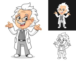 banner, cute, white, coat, poster, vector, clip, art, isolated, graphic, design, illustration, mascot, cartoon, character, coloring, colored, drawing, draw, line, outline, flat, professor, doctor, old
