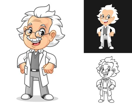 Happy Old Man Professor with Hands on Hips Cartoon Character Design, Including Flat and Line Art Designs, Vector Illustration, in Isolated White Background.