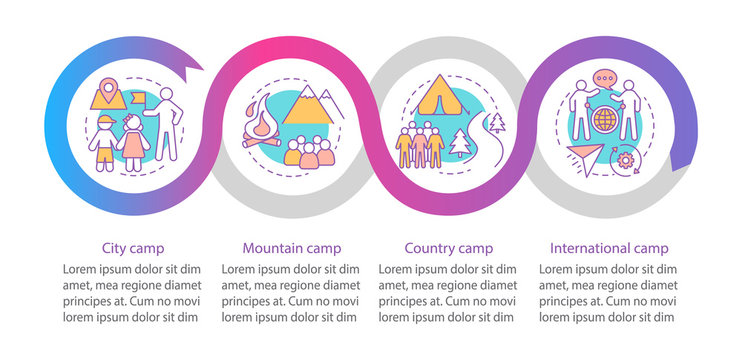 Travelling, nature camps vector infographic template. Business presentation design elements. Data visualization with four steps and options. Process timeline chart. Workflow layout with linear icons