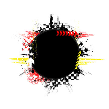 Black grunge circle frame with red and yellow race elements