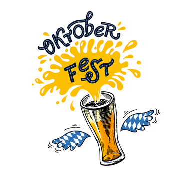 Oktoberfest. Vector flat color illustration for German beer festival in Munich. Hand Drawn Lettering with picture of beer mug with foam splash and wings with Bavarian flag. For poster, menu, flyer.