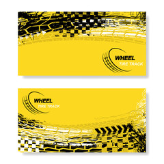 Set of two yellow rectangle banners with black and white grunge tire track silhouettes isolated on white background