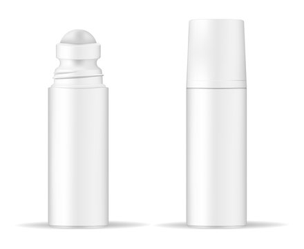 Body antiperspirant deodorant roll-on, open and closed blank white bottle with screw cap. Realistic vector mockup