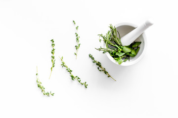 Healing herbs for medicine on white background top view Fototapete