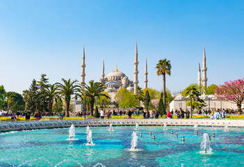 ISTANBUL, TURKEY - APRIL 21, 2018: The Blue Mosque, (Sultanahmet Camii), Istanbul, Turkey