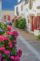 Piriac-sur-Mer flowered village at the seaside in Brittany, France