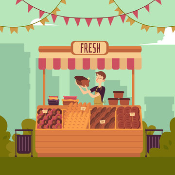 Counter of bakery marketplace flat vector illustration on the cityscape background.
