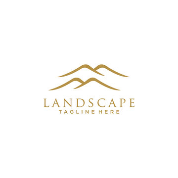 Minimalist Landscape Hills / Mountain Peaks Vector logo design