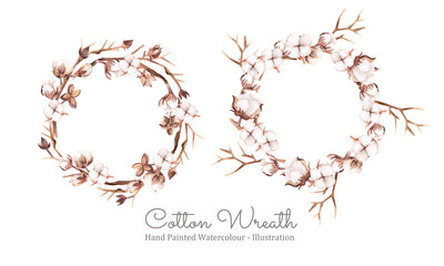 Cotton wreath. Arrangement of cotton bolls and Twigs. Hand painted watercolour. Vector illustration