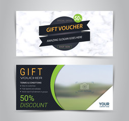 Gift certificates and vouchers, discount coupon or banner web template with marble texture imitation background, clean and modern pattern design for make an image of the product your company offers.