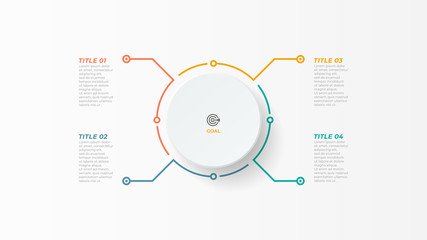 Fototapeta Thin line infographic element with circle for brochure. Business concept with 4 options, steps or processes. Vector illustration. obraz