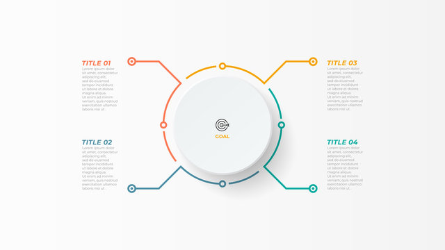Thin line infographic element with circle for brochure. Business concept with 4 options, steps or processes. Vector illustration.