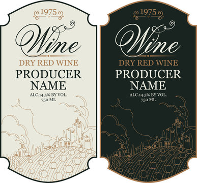 Set of two vector wine labels with calligraphic inscription and contour drawing of rural landscape in figured frame in retro style