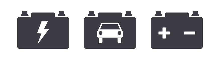 Car power battery symbol icons