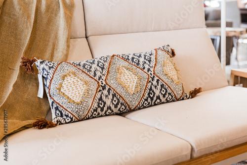 Awesome Textured Lumbar Pillow On Tan Couch Modern Woven Design Short Links Chair Design For Home Short Linksinfo