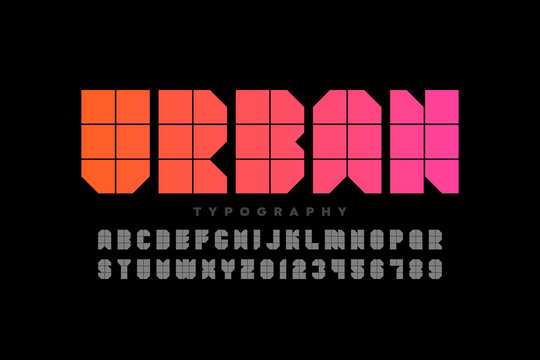Urban style font design, alphabet letters and numbers