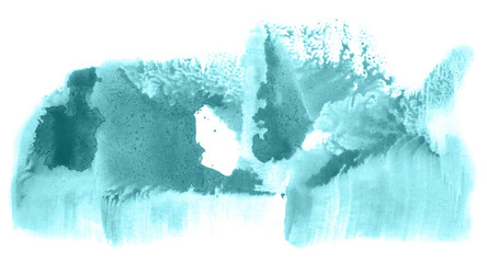 Spoed Foto op Canvas Wereldkaart Abstract watercolor background hand-drawn on paper. Volumetric smoke elements. Blue-Green color. For design, web, card, text, decoration, surfaces.