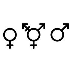 Gender symbols, icon set. Male, female and transgender. Black signs on a white background.