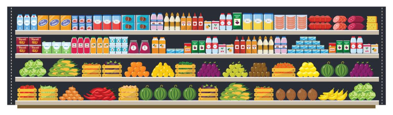 Grocery supermarket shelves flat vector seamless background illustration.