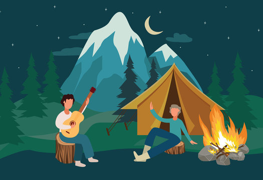 Cartoon people at camping leisure with yellow tent singing with guitar by the bonfire