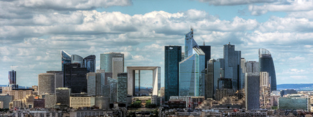 district La Defense in Paris. It is Europes largest business district with 560 hectares area 72 glass and steel buildings and skyscrapers Wall mural