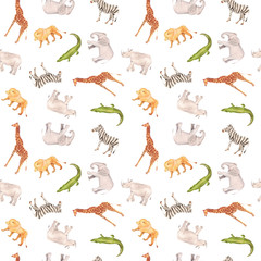 Watercolor hand drawn seamless pattern background with sketch illustrations of African animals - giraffe, elephant, lion, zebra, crocodile, rhino isolated on white