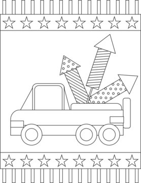 American Patriotic page coloring book: truck carrying fireworks for a fireworks display in a square frame on a starry background