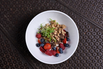 Healthy breakfast, granola with forrest berries