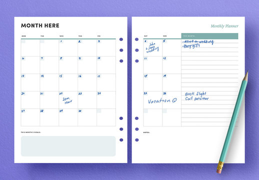 Monthly Calendar Agenda Layout for Planner