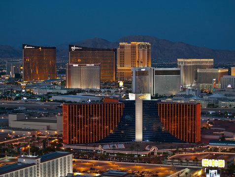 Night editorial view of Rio, Wynn and Treasure Island resorts on September 13, 2010 in Las Vegas, Nevada, USA.