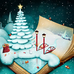 Festive greeting illustration or poster for  Christmas or New Year card with  winter landscape with  Christmas  tree on  book.