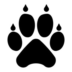 gz422 GrafikZeichnung - german icon - Hundepfotenabdruck: english - dog paw print: simple template isolated on white background. square poster xxl g8463
