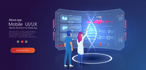 Medical hologram DNA laboratory interior. DNA nanotechnology biochemistry and human genome. Can use for web banner, infographics, hero images. Flat isometric vector illustration