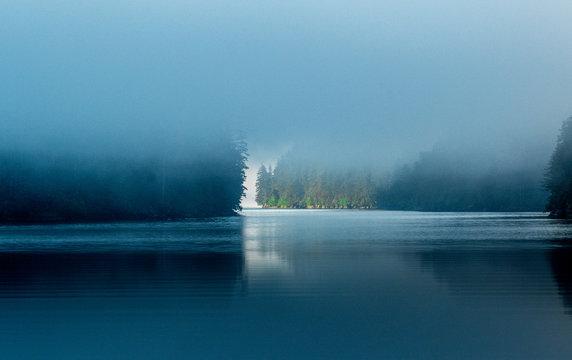 A misty morning in Southeast Alaska along the inside passage