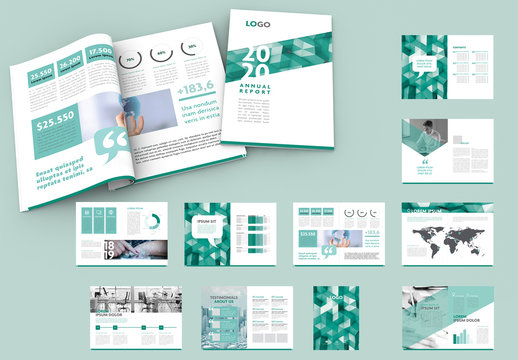 Annual Report Layout with Teal Geometric Elements