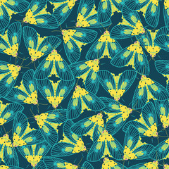 Vector blue and yellow moths with detailed wings outlines repeat pattern. Suitable for gift wrap, textile or wallpaper.