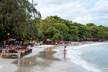 Beach front bars, shops and restaurants on Sai Kaew Beach on the island of Koh Samet Thailand Fototapete