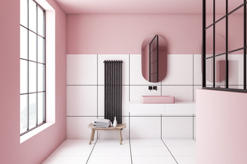 Pink and white tile bathroom interior, sink