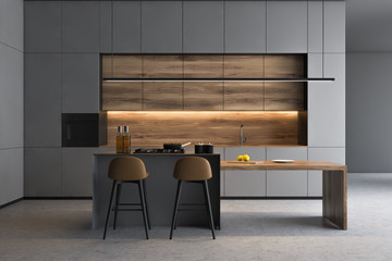 Grey kitchen interior with bar