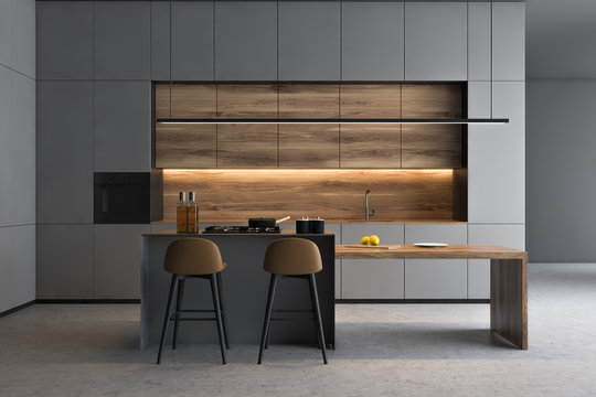 Grey kitchen interior with bar