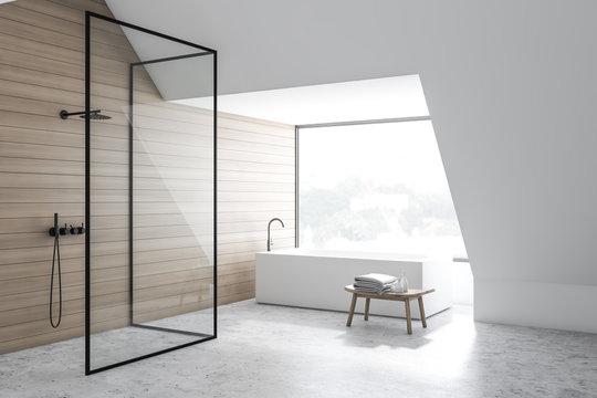 Wooden bathroom corner, tub and shower