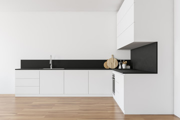 White kitchen interior with countertops