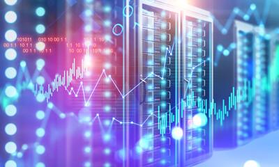 Fotobehang - Server room, graphs and binary numbers