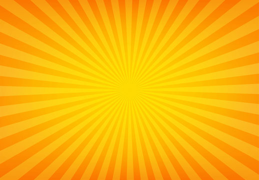 Sunbeam abstract background. Symmetrical radial yellow and orange sun rays. Ornamental manga pattern. Summer poster. Flat style line texture. Vector illustration