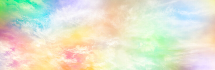 Cloud and sky with a pastel colored background, abstract sky background in sweet color, panoramic image Fotoväggar