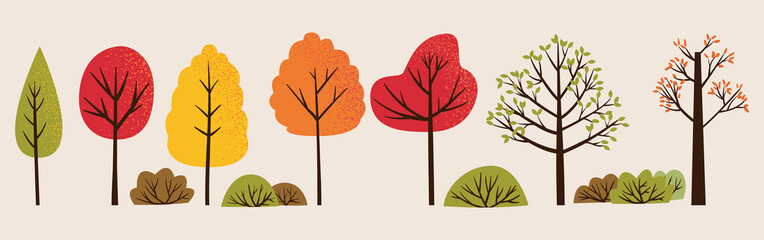 Set of vector illustration of autumn trees and bushes. Bundle of colorful trees with orange, green and red leaves