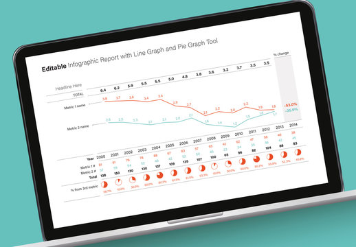Editable Infographic Report with Line and Pie Graphs