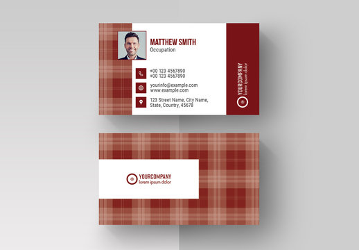 Business Card Layout with Red Pattern Elements