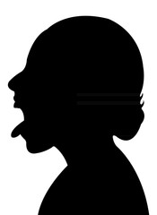 girl head, open mouth, silhouette vector